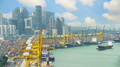 Shipping port in Singapore